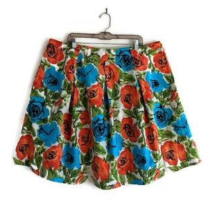 Talbots Blue Orange Floral Pleated Skirt 20W T15